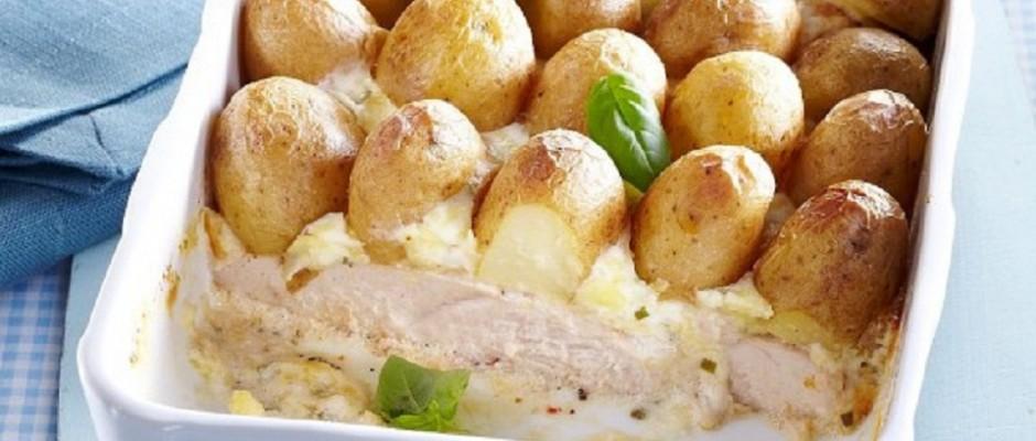 carne de curcan cu cartofi noi si iaurt
